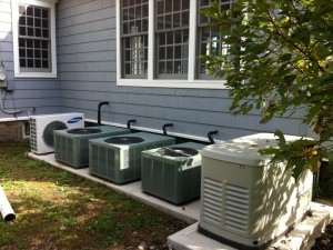A four zone residential AC system with a standby generator.