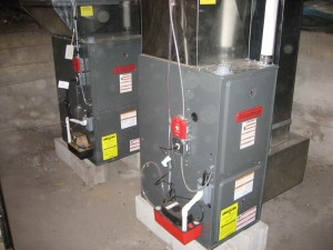 A set of two 90% efficiency Goodman gas furnaces for a church. It was converted from oil to gas.